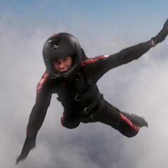Donald falling through the air.