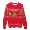 Urban Outfitters - 8 bit weed tacky ugly Christmas sweater