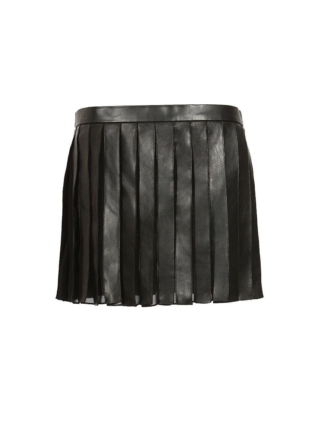 File:Saint Laurent - Leather and silk georgette pleated skirt.jpg