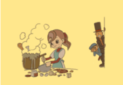 Professor Layton and the Curious Village - (Credits) Flora cooking something inedible..