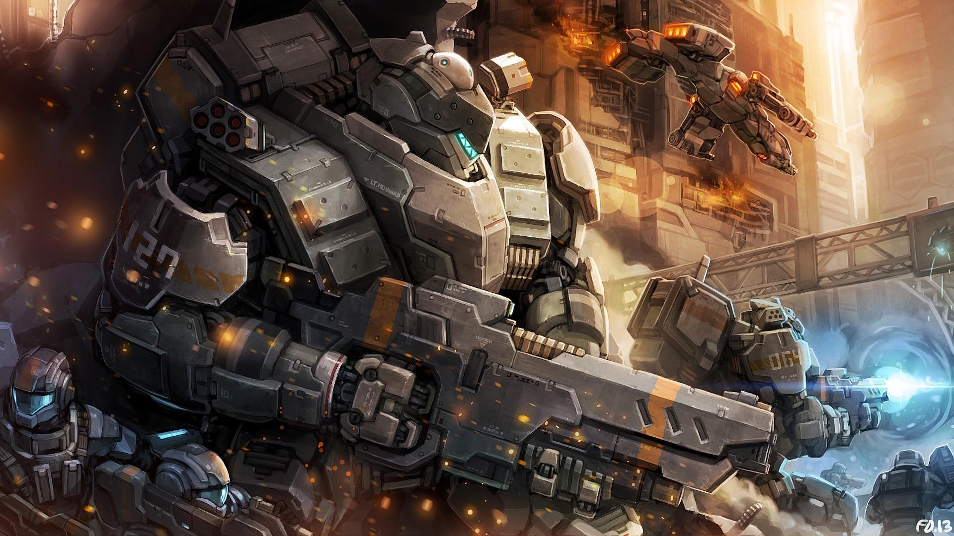Image mecha soldier weapon armor sci fi original hd wallpaper