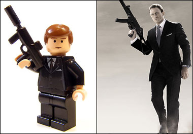 lego custom james bond 007 minifig spy gold golden gun shotgun ...