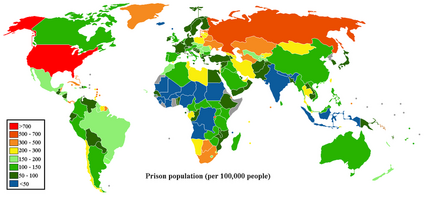 Prisoner population rate world map