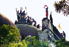 Hindu fundies demolishing Babri Masjid