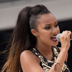 Leigh Anne's straight, long, ombre hair in pompadour ponytail