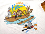 90s Looney Tunes Aloha Hawaii Cartoon Bugs Daffy Ocean Canoe Shark White Vintage Short Sleeve Cotton Tee T Shirt Fits Mens Med or Lady Lg