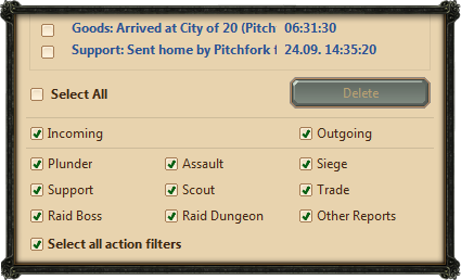 Report filters frame