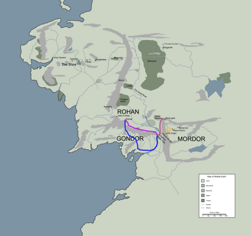 File:Route taken in return of the king middle earth.PNG