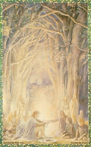File:Alan Lee - Gildor and the Hobbits.jpg
