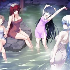 Kokoro and the 2-S ladies at the hot spring