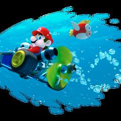 Mario driving underwater.