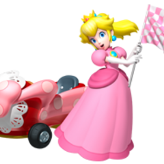 Peach waving a flag.