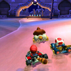Donkey Kong, Toad and Mario racing in Shy Guy Carnival