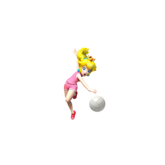 Peach catching the Volleyball