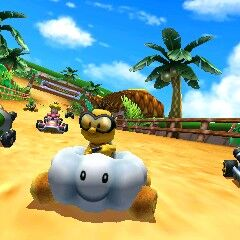 Lakitu, Toad, Koopa Troopa and Peach all racing in Cheep Cheep Lagoon
