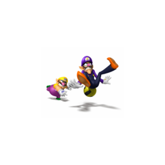 Wario hitting Waluigi with a Dodgeball