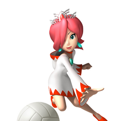 White Mage striking the volleyball.