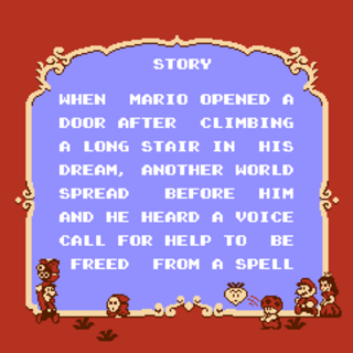 The first half of the story screen in <i>Super Mario Bros. 2</i>.