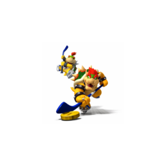 Bowser and Bowser Jr. teaming in hockey.