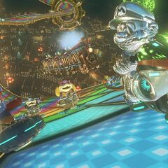 Metal Mario, Mario, and several other characters approaching the second checkpoint which can be seen at the background.