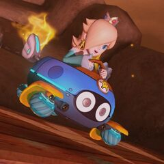 Rosalina races on the anti-gravity portion of the track.