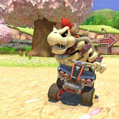 Dry Bowser racing on the track.