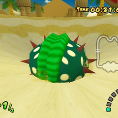 The Big Piranha Plant lives inside the quicksand pit.