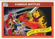 Thor Odinson vs. Surtur (Earth-616) from Marvel Universe Cards Series I 0001