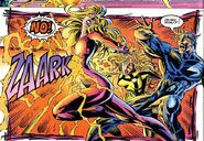 Crystalia Amaquelin (Earth-616) and Quicksilver saved by the future Luna Maximoff impostor from Avengers Vol 1 394