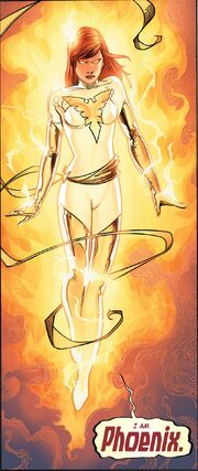 Hope Summers (Earth-616) and Phoenix Force (Earth-616) from Avengers vs. X-Men Vol 1 12 0001
