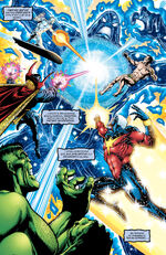 Celestial Order (Earth-4321) vs. Defenders (Earth-4321) and Captain Marvel (Earth-4321) from Marvel Universe The End Vol 1 4