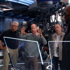 Joss Whedon and crew, with Cobie Smulders and Samuel L.Jackson on set.