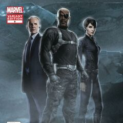 Nick Fury, Agent Coulson, and Maria Hill.