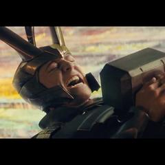 Loki trying to lift Mjölnir in <i>Thor</i>.