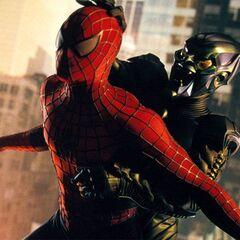 The Green Goblin pummels Spider-Man.