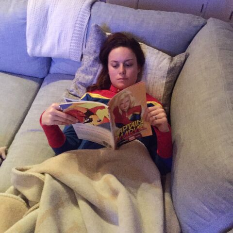 File:Brie Larson reading Captain Marvel book.jpg