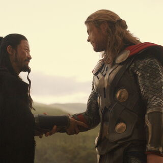Hogun and Thor shakes hands after the battle.