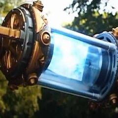 Thor using the tesseract to transport Loki to Asgard.