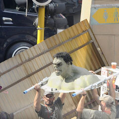 The Practical Hulk used on set.