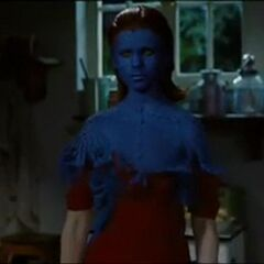 Mystique revealing her powers to Charles when they first met.