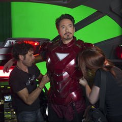 On set with Robert Downey Jr. (Tony Stark/Iron Man).