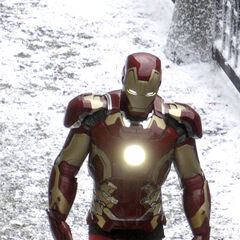 Iron Man suit stand-in on set