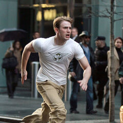 Steve running in New York in the present.