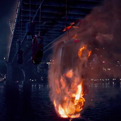 The car Spider-Man is trying to save Jack from sets alight.