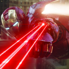 Stark in the Mark VII, using a tri-barreled laser to wound a Leviathan.
