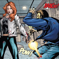 Dr. Sterns gets shot in the leg by Black Widow.