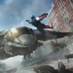 Concept art: Captain America leaps into action.