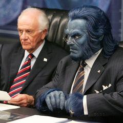 Hank as the Secretary of Mutant Affairs.