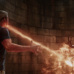 Aldrich Killian breathing fire at <a href=