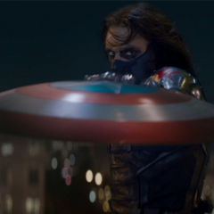 Winter Soldier stopping Cap's shield in <i>The Winter Soldier</i>